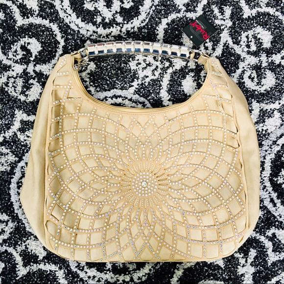 NWT Boutique rhinestone flower purse bag tan NEW dd56dd139f4d5
